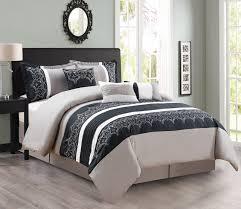 7 piece gray black white comforter set