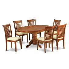 shop east west furniture avon saddle brown 7 piece dining set with east west furniture avon saddle brown 7 piece dining set with oval dining table