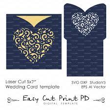 envelope lace swirl heart wedding card invitation template