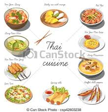 de cuisine thailandaise cuisine set collection of food dishes for the vectors