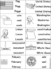 multiple choice spelling presidents day words enchantedlearning com
