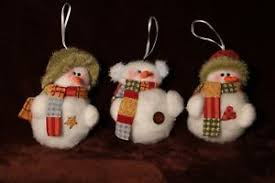 country plush snowman ornaments trio ebay