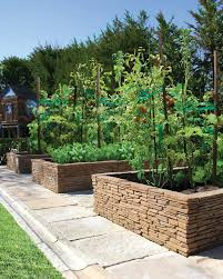 stone wall garden ideas landscape mediterranean with raised beds