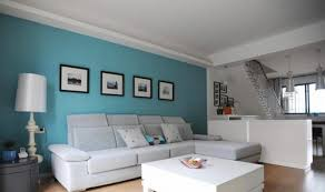 turquoise and dark brown living room white sofa light blue walls