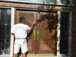 Wood Exterior Door Refinishing Exterior Solid Wood Door And Painting With Brown Color