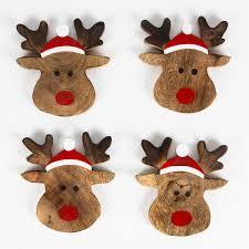 set of 4 rudolf the reindeer coasters