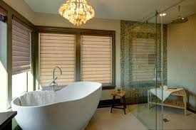 fascinating spa bathroom decor with oval shape white bathtub and