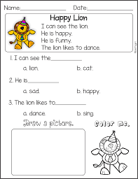 kindergarten reading comprehension read the story for fluency and
