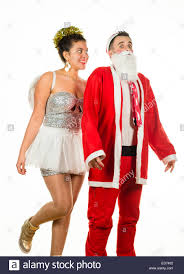 christmas angel goosing santa claus two young people at a
