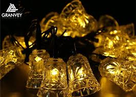 solar led christmas lights outdoor holiday 6m bell solar led christmas lights 30 led waterproof for
