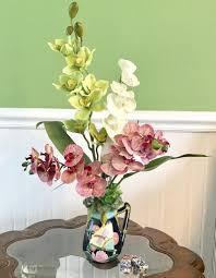 Deco Vase Tropical Silk Purple White And Green Orchids Floral Arrangement