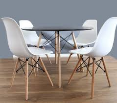 white dining table and chairs set 80cm u0026 4 eames dsw white