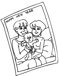 printable new years coloring page a family card