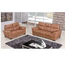 Tan Sofa Set by 2 Pcs Pillow Top Armrest Dark Tan Genuine Leather Sofa Set