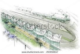 watercolor sketch cricket stadium vector stock vector 667909720