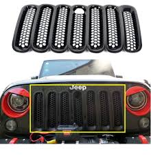jeep wrangler front grill new 7pcs set black front grille cover insert mesh grill for jeep