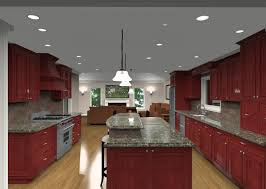 contemporary two tier kitchen island with wooden cabinets also