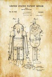 deep sea diving suit patent patent print wall decor diver gift