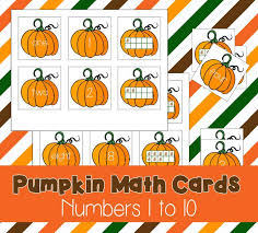 free printable preschool pumpkin math cards numbers 1 10