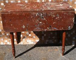 Wooden Drop Leaf Table Antique Table Black Walnut Drop Leaf Table Spindle Legs
