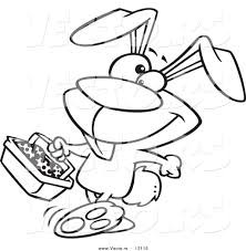 vector of a cartoon happy easter bunny carrying a basket of eggs