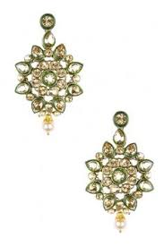 Buy Designer Gold Plated Golden Gold Plated Crystal Stone And Pearl Hoop Earrings