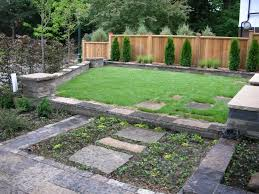 Paver Design Software by Garden Backyard Landscaping With Plants And Stone Pavers Stock