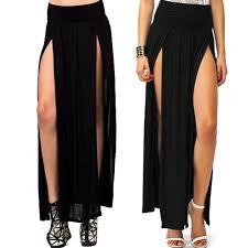 black maxi skirt with slit zeagoo s trends high waisted slits maxi skirt black