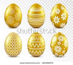 gold easter egg gold easter eggs patten set isolated stock vector 604006079