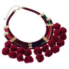 boho bib necklace images Fashion rope chain boho ethnic light red color wool ball pendant jpg
