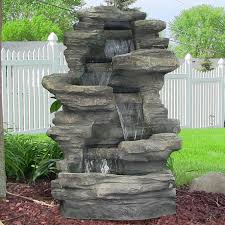 sunnydaze stacked shale electric outdoor waterfall u2013 38 u201d tall