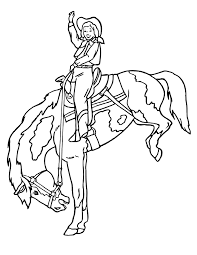 horse coloring cowgirl bucking horse