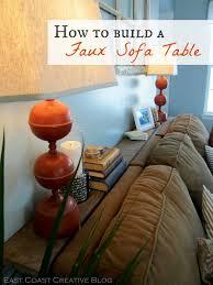 console table behind sofa against wall faux sofa table tutorial east coast creative blog