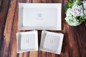 personalized wedding platter personalized wedding gift rectangular wedding platter with set of 6