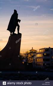 statue of leifur eiriksson leif ericson at sunset in front of