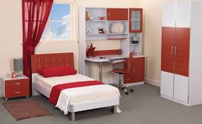 bedroom modern teenage bedroom design with red white theme using