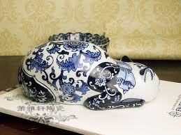 nordic retro new blue and white porcelain lazy cat