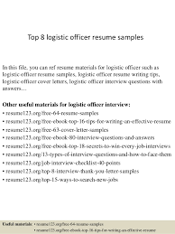 resume format administrative officers exam solutions c300 top 8 logistic officer resume sles 1 638 jpg cb 1428498813