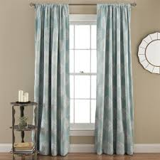 set of 2 blue damask medallion room darkening window curtains