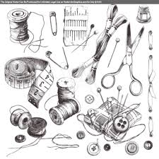 sewing set collection of highly detailed hand drawn sewing and