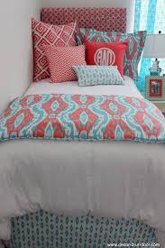 Designer Girls Bedding Coral U0026 Aqua Ikat Dorm Bed Scarf Dorms Coral Aqua And Dorm