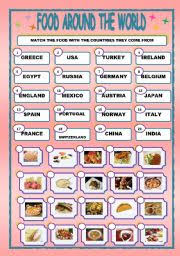 worksheet food around the world matching