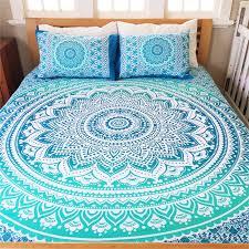 bohemian blue life flower queen 3 pc set mandala boho bedding u0026 2
