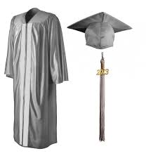 black graduation cap and gown shiny silver cap gown tassel graduationsource products