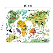 free shipping removable diy mural wallpaper animal world map wall