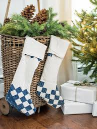upcycle a quilt into charming christmas stockings hgtv