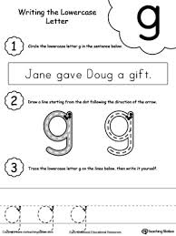 writing lowercase letter g letter g writing and worksheets