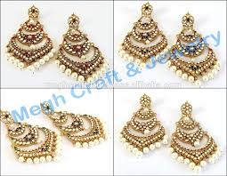 punjabi jhumka earrings dangling indian traditional earrings wholesale kundan handmade