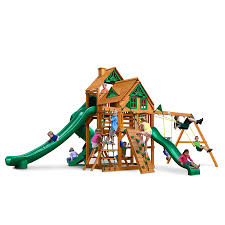 Playground Flooring Lowes by Shop Gorilla Playsets Great Skye Ii Treehouse Residential Wood