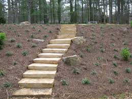 pine straw used to cover a sloped backyard steps pinterest